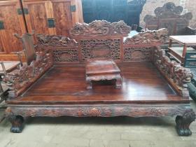 古董古玩黄花梨老家具雕龙罗汉床