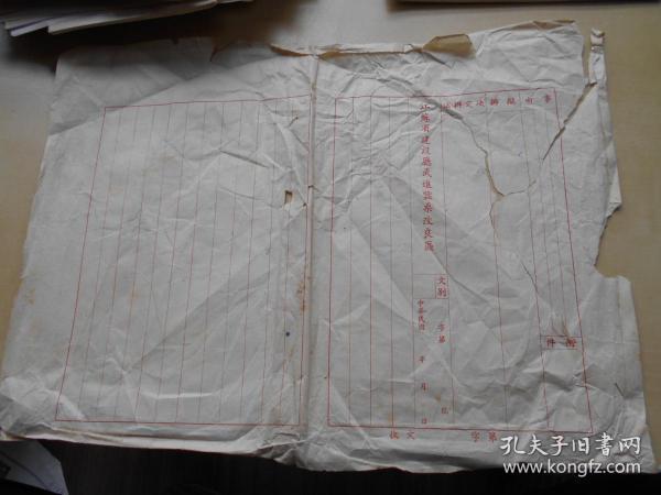 老纸头【民国,江苏省建设厅武进蚕桑改良区,空白公文纸一张】