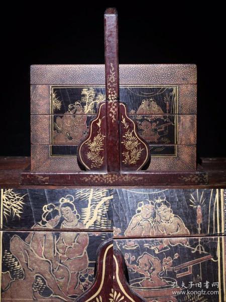 木胎漆器仕女图食盒高40cm   长41cm   宽26.5cm