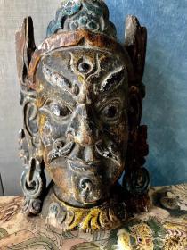 傩面具丨清中期黄财神,形像逼真