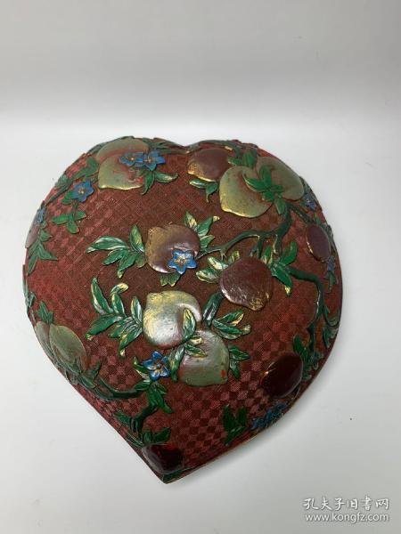 老漆器手工绘彩寿桃盒子