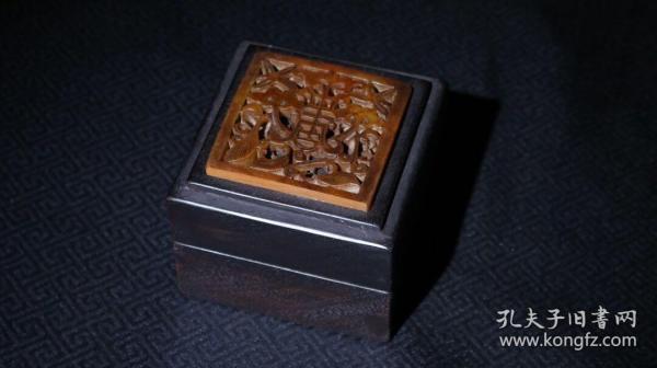 檀木镶玉首饰盒高7cm   宽9×9cmB