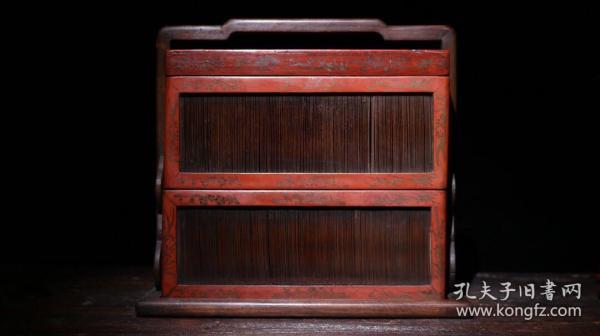 檀木竹丝漆器食盒高28cm  长29.5cm  宽19cm重1785克
