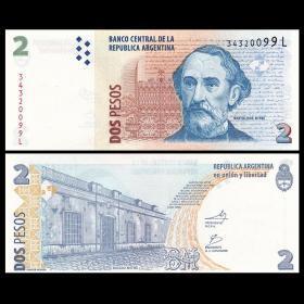 阿根廷 2比索纸币 2010年 外国钱币