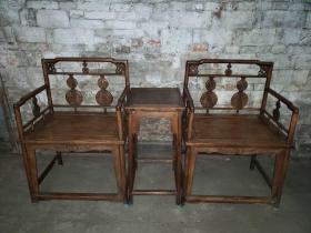 清:黄花梨,寿字玫瑰椅(3件套)