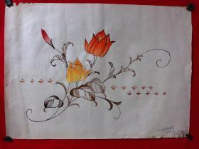 书画原作3490,80年代纺织品纹样手绘设计稿