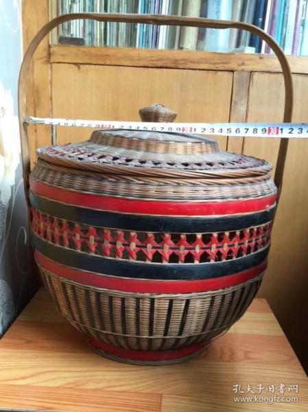 竹篾提篮—手工竹篾彩漆提篮