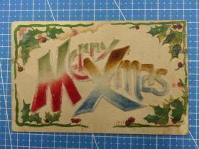 欧洲1910年--绒布字--文字图--手写--圣诞节祝福贺卡明信片(93)-收藏集邮绘画-复古手账素材-外国邮政-明信片
