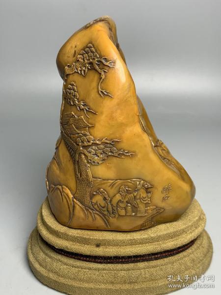 田黄寿山石山水人物(长11公分x宽8公分x重量571克)
