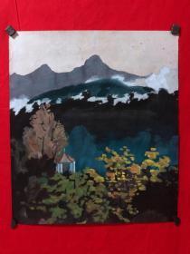 书画原作3444,早期水粉画,山水画,时间不详
