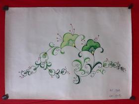 书画原作3475,80年代纺织品纹样手绘设计稿