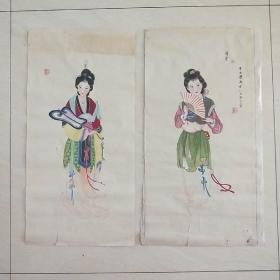 著名画家: 于久慧     精品仕女图两幅合售 65/33  X2厘米 软片  87年作 保真