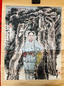王毅,中美协会员水墨一副,陈毅诗思,87×67cm