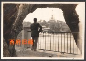 民国老照片,北京北海公园的一张背影照,一个顾影的文艺男青年