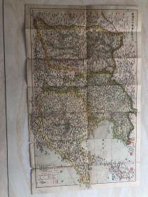 民国五彩老地图一张(河北省山东省及山西省)保真保老、品相如图