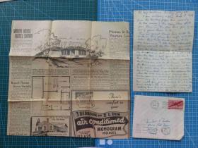 1949年7月11日--美国贴1枚邮票手写实寄封(含信件)--(51)复古手账--收藏集邮--外国邮政--含信件实寄信封