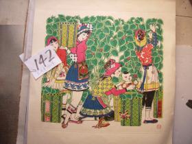 桃花坞木版年画-桑园新绿-名家庄素的代表作-多色套印带原裱