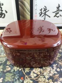 日本漆器食盒皿零食盒漆盒 木粉加树脂制品,颜色漂亮,四格,双层,径24.5Cm,高11cm,保管品,未使用,日本回流,有外包装纸盒。