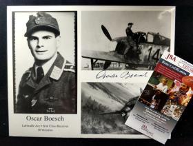 """""""纳粹战鹰"""" 奥斯卡.博施 签名照片(8×10英寸) 三大签名鉴定公司之一JSA鉴定"""
