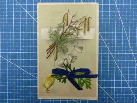 欧洲1910年--丝带--铃铛松枝小鸡图--手写--问候祝福贺卡明信片(96)-收藏集邮绘画-复古手账素材-外国邮政-明信片