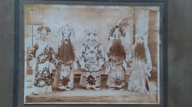 民国时期五个不同扮相的京剧或戏剧人物照片