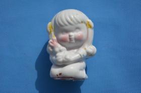 90年代的 老货 老台灯上的 瓷娃娃