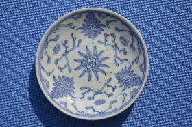 清代 四季花卉 青花瓷 老瓷盘瓷碟 有小冲