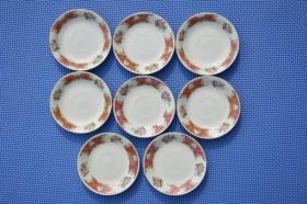 7080年代 唐山瓷 釉上彩 花卉图 老瓷盘瓷碟一套