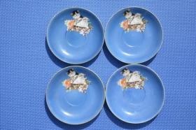 文革时期 唐山瓷 双猫图 老瓷盘瓷碟一套