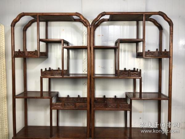 黄花梨博古架,满鬼脸牛毛纹榫峁结构,长210厘米,高204厘米,厚35厘米
