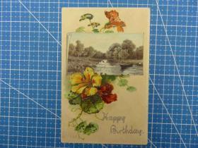 美国1906年--闪光粉--花卉鲜花景色图--手写--贴邮票--生日祝福贺卡实寄明信片(45)-收藏集邮绘画-复古手账素材-外国邮政-实寄明信片