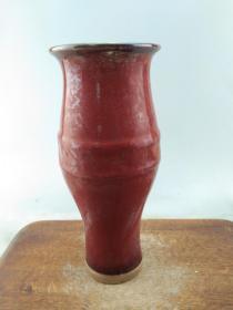 赔钱处理乡下收来的红釉老瓷瓶A9090.