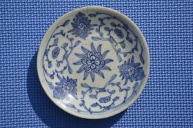 清代 寿款 青花瓷 老瓷盘瓷碟 有小冲