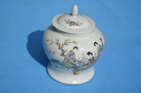 清末民初 瓷画名家 黄义成造 侍女图 将军罐老瓷罐