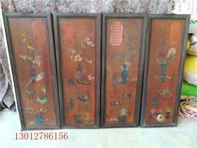 古董古玩漆器 花卉四条屏