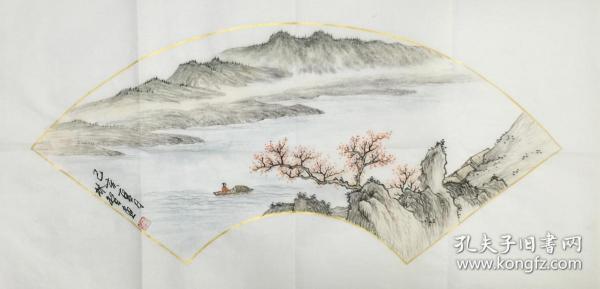 ?【保真】【林智】中國書畫家協會會員、手繪特價山水(69*34CM)2.