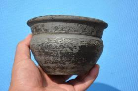 陕北收来的 明清时期 寿字 老寺庙佛事用香炉 老陶香炉