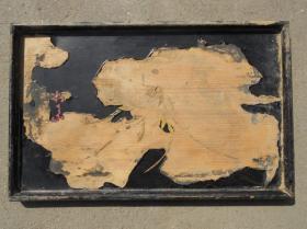 建国初期 黑漆老木质 中心绘花 托盘