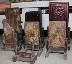 明清老屏风砚屏古董