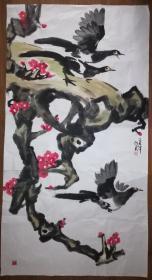 手绘真迹国画:天津美协会员曹剑英大写意花鸟画《无题》(六尺)