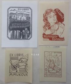 欧洲木版画线刻版音乐藏书票4张合售66组