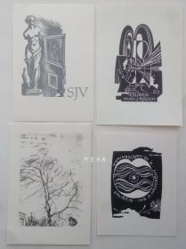 欧洲木版画石版画藏书票16张合售73组