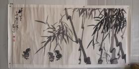 老装老裱……安徽著名老画家(郑正)67*137……竹鸡