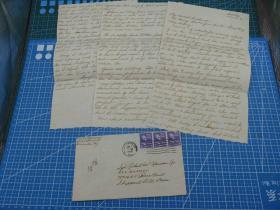 """""""二战""""1945年1月1日美国(路易斯维尔寄纽约)航空实寄封贴邮票3枚、小组中士兵的信、含信件(93)"""