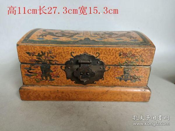 清代传世老漆器龙纹首饰盒