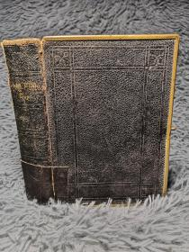 1876年签名 THE HOLY BIBLE CONTAINING THE OLD AND NEW TESTAMENTS 含几幅彩色地图 三面刷金 带锁扣  全皮装帧  14.5X10.5CM