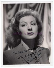 好莱坞女神 葛丽亚·嘉逊 Greer Garson 亲笔签名照及晚年亲笔信 两件一组  代表作《万古流芳》《傲慢与偏见》《忠勇之家》《鸳梦重温》和《居里夫人》