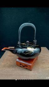 日本精美木胎描金彩绘茶壶  日本实木金莳绘漆器 壶尺寸16*12*16厘米