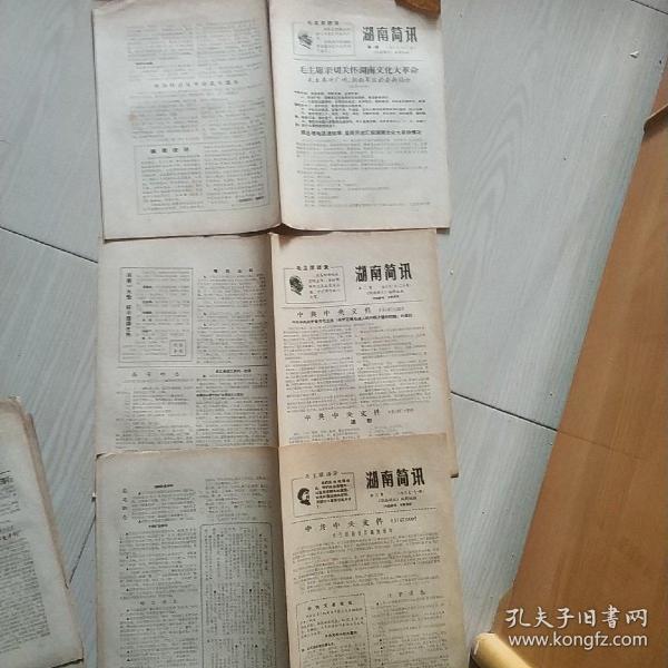 《湖南简讯》 从第1、2、3、5、6、8、9、12、13、14、15、16、19、20、22、23、24、25、26、27、28、29、30、31、33、34、35、36、37、38、56、59、60、61、64期
