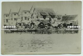 民国三十年代末期天津遭遇洪水,英租界墙子河南岸灾民聚集处老照片